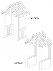 The two previous photos show the full porch but we do offer a Half Porch design